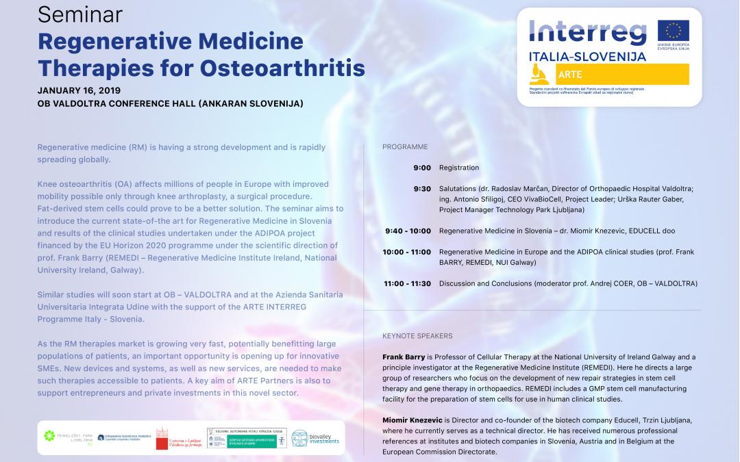 Arte's seminar. Regenerative Medicine. Therapies for Osteoarthritis.