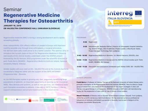 Arte's seminar. Regenerative Medicine. Therapies for Osteoarthritis.